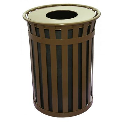 Witt Outdoor 50 Gal. Trash Receptacle Brown Steel with Flat Top W-M5001-FT-BN