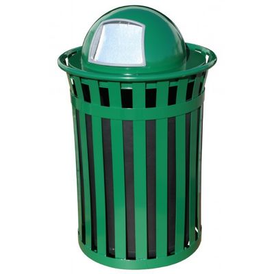 Witt Outdoor 50 Gal. Trash Receptacle Green Steel with Dome Top W-M5001-DT-GN