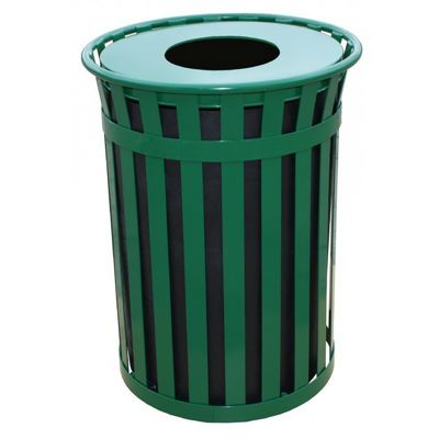 Witt Outdoor 50 Gal. Trash Receptacle Green Steel with Flat Top W-M5001-FT-GN