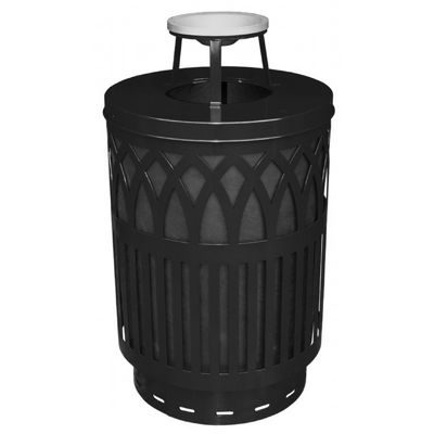 Witt Outdoor Covington Can 40 Gal. Black Steel with Ash Top W-COV40P-AT-BK