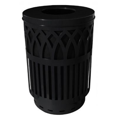 Witt Outdoor Covington Can 40 Gal. Black Steel with Flat Top W-COV40P-FT-BK