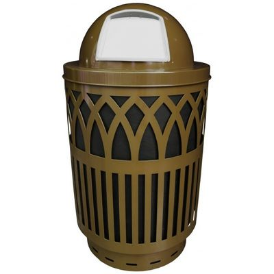Witt Outdoor Covington Can 40 Gal. Brown Steel with Dome Top W-COV40P-DT-BN