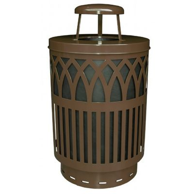 Witt Outdoor Covington Can 40 Gal. Brown Steel with Rain Cap W-COV40P-RC-BN