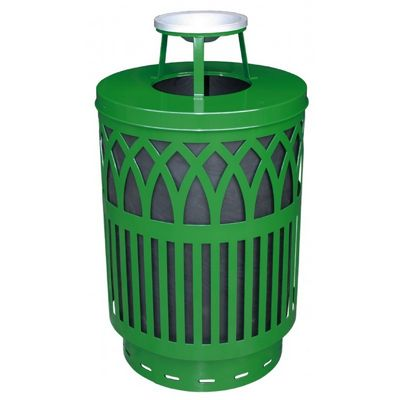 Witt Outdoor Covington Can 40 Gal. Green Steel with Ash Top W-COV40P-AT-GN