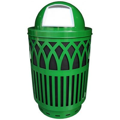 Witt Outdoor Covington Can 40 Gal. Green Steel with Dome Top W-COV40P-DT-GN