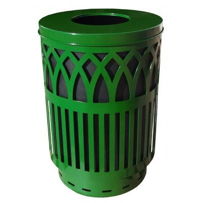 Witt Outdoor Covington Can 40 Gal. Green Steel with Flat Top W-COV40P-FT-GN