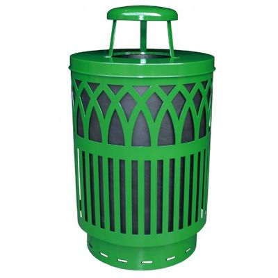 Witt Outdoor Covington Can 40 Gal. Green Steel with Rain Cap W-COV40P-RC-GN