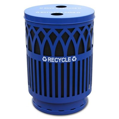 Witt Outdoor Covington Recycling 40 Gal. Blue Steel W-COVR40P-FTR-BL