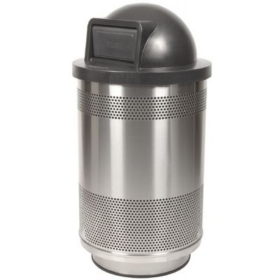 Witt Outdoor Perforated Receptacle 55 Gal. Stainless Steel with Dome Top W-SC55-01-SS-DT