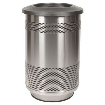 Witt Outdoor Perforated Receptacle 55 Gal. Stainless Steel with Flat Top W-SC55-01-SS-FT