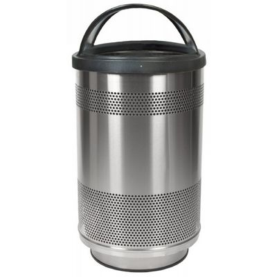 Witt Outdoor Perforated Receptacle 55 Gal. Stainless Steel with Hood Top W-SC55-01-SS-HT