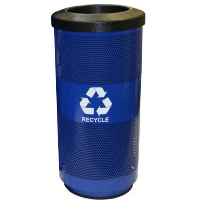 Witt Outdoor Perforated Recycling Receptacle 20 Gal. Blue Streak II Steel W-SC20-01-RP-BL