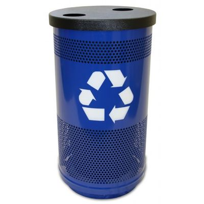 Witt Outdoor Perforated Recycling Receptacle 35 Gal. Blue Steel with Two Round Openings W-SC35-02-BL-FHH