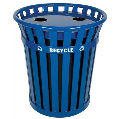 Witt Outdoor Recycling Receptacle 36 Gal. Blue Steel W-WCR36-FTR-BL
