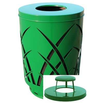 Witt Outdoor Sawgrass Can 40 Gal. Green Steel with Rain Cap W-SAW40P-RC-GN