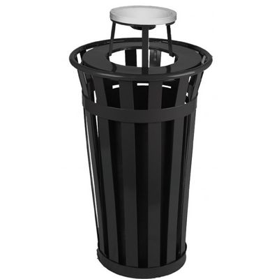 Witt Outdoor Trash Receptacle 24 Gal. Black Steel with Ash Top W-M2401-AT-BK