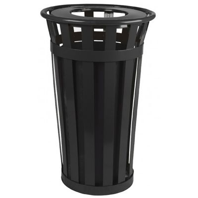 Witt Outdoor Trash Receptacle 24 Gal. Black Steel with Flat Top W-M2401-FT-BK