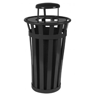Witt Outdoor Trash Receptacle 24 Gal Black Steel With