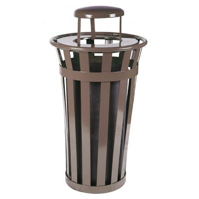 Witt Outdoor Trash Receptacle 24 Gal. Brown Steel with Rain Cap W-M2401-RC-BN