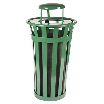 Witt Outdoor Trash Receptacle 24 Gal. Green Steel with Rain Cap W-M2401-RC-GN