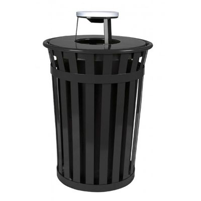 Witt Outdoor Trash Receptacle 36 Gal. Black Steel with Ash Top W-M3601-AT-BK