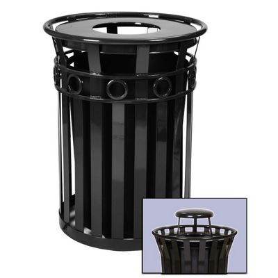 Witt Outdoor Trash Receptacle 36 Gal. Black Steel with Rain Cap - Decorative W-M3600-R-RC-BK
