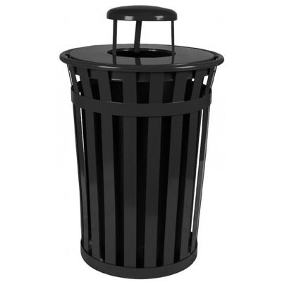 Witt Outdoor Trash Receptacle 36 Gal. Black Steel with Rain Cap W-M3601-RC-BK