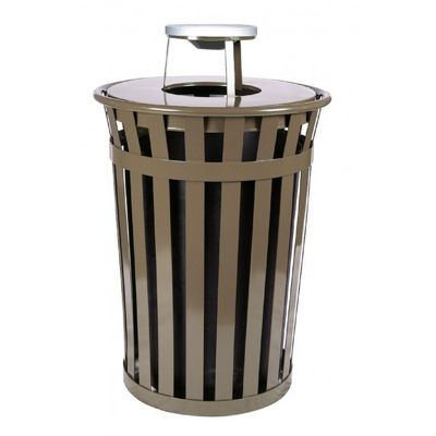 Witt Outdoor Trash Receptacle 36 Gal. Brown Steel with Ash Top W-M3601-AT-BN