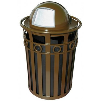 Witt Outdoor Trash Receptacle and 36 Gal. Brown Steel with Dome Top W-M3600-R-DT-BN