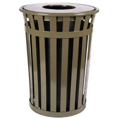 Witt Outdoor Trash Receptacle 36 Gal. Brown Steel with Flat Top W-M3601-FT-BN