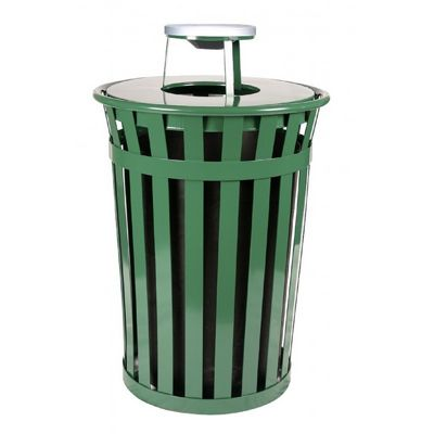 Witt Outdoor Trash Receptacle 36 Gal. Green Steel with Ash Top W-M3601-AT-GN