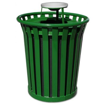 Witt Outdoor Trash Receptacle 36 Gal. Green Steel with Ash Top - Wydman W-WC3600-AT-GN