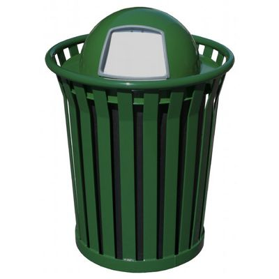 Witt Outdoor Trash Receptacle 36 Gal. Green Steel with Dome Top - Wydman W-WC3600-DT-GN