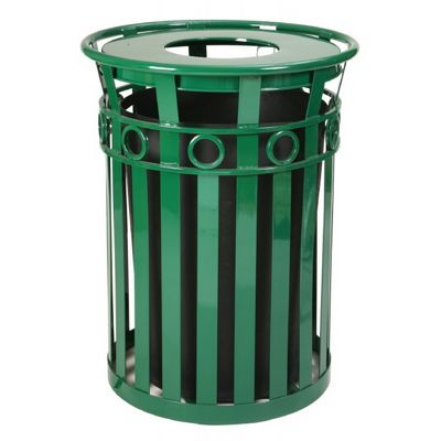 Witt Outdoor Trash Receptacle 36 Gal. Green Steel with Flat Top - Decorative W-M3600-R-FT-GN