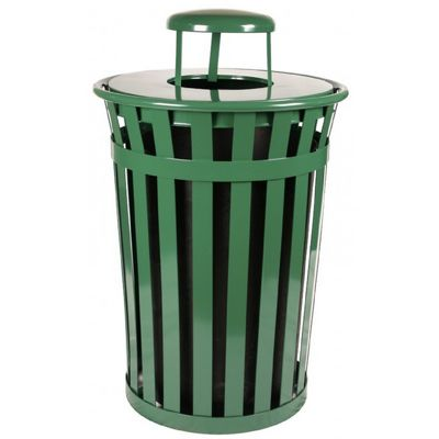 Witt Outdoor Trash Receptacle 36 Gal. Green Steel with Rain Cap W-M3601-RC-GN