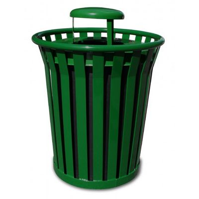 Witt Outdoor Trash Receptacle 36 Gal. Green Steel with Rain Cap - Wydman W-WC3600-RC-GN