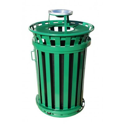 Witt Outdoor Trash Receptacle with ash top 36 Gal. Green Steel W-M3601SD-AT-GN