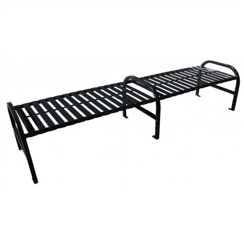 Peachy Witt Backless Outdoor Bench Black Steel 8 Feet Straight With Center Pabps2019 Chair Design Images Pabps2019Com