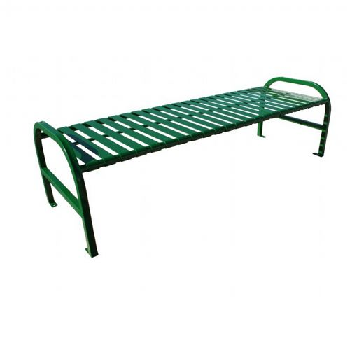Witt Backless Outdoor Bench Green Steel 6 Feet Straight W-M6-BBS-GN