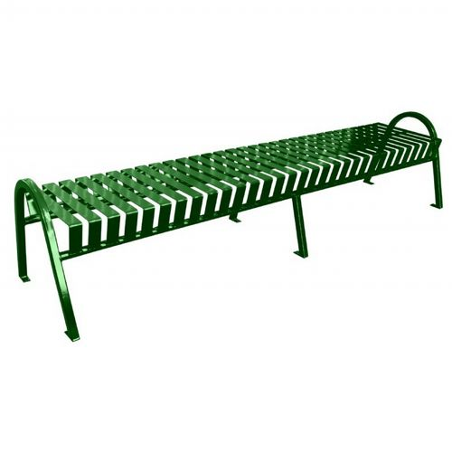 Fabulous Witt Backless Outdoor Bench Green Steel 8 Feet Curved Customarchery Wood Chair Design Ideas Customarcherynet