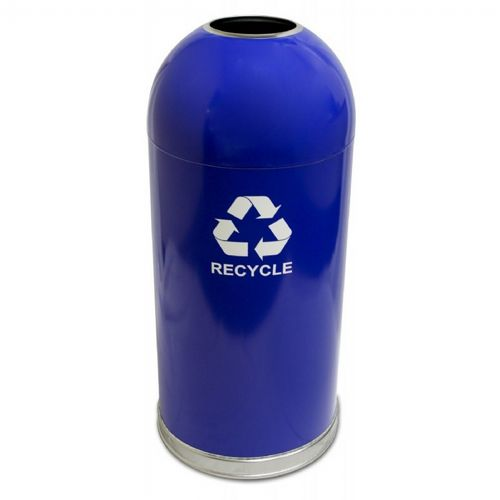 Witt Indoor Dometop Recycling Container 15 Gal. Blue Steel W-415DTBL-R