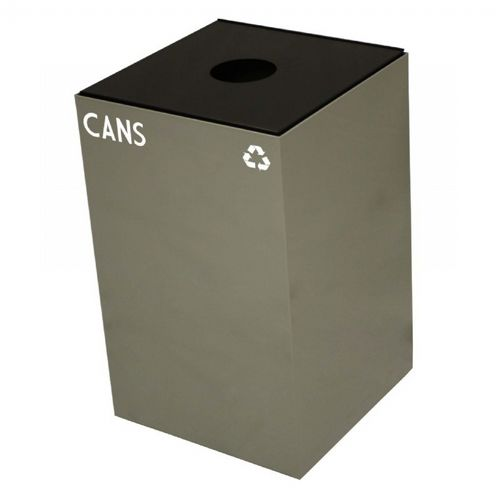Witt Indoor Recycling Container 24 Gal. Slate Steel for Cans W-24GC01-SL