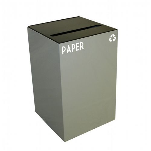 Witt Indoor Recycling Container 24 Gal. Slate Steel for Paper W-24GC02-SL