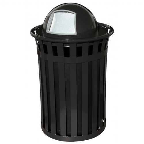 Witt Outdoor 50 Gal. Trash Receptacle Black Steel with Dome Top W-M5001-DT-BK