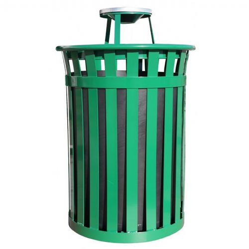 Witt Outdoor 50 Gal. Trash Receptacle Green Steel with Ash Top W-M5001-AT-GN