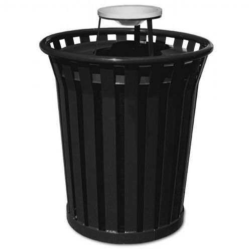 Witt Outdoor Trash Receptacle 36 Gal. Black Steel with Ash Top W-WC3600-AT-BK