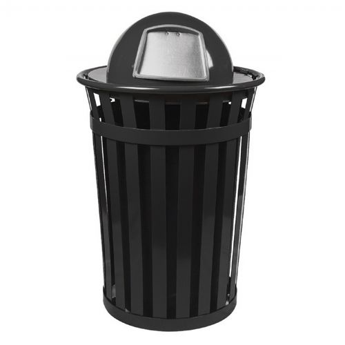 Witt Outdoor Trash Receptacle 36 Gal. Black Steel with Dome Top W-M3601-DT-BK