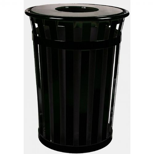 Witt Outdoor Trash Receptacle 36 Gal. Black Steel with Flat Top W-M3601-FT-BK