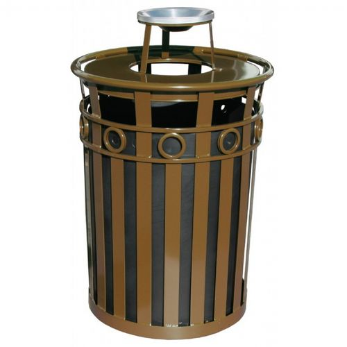 Witt Outdoor Trash Receptacle 36 Gal. Brown Steel with Ash Top - Decorative W-M3600-R-AT-BN
