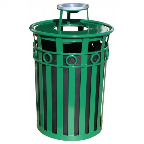 Witt Outdoor Trash Receptacle 36 Gal. Green Steel with Ash Top - Decorative W-M3600-R-AT-GN